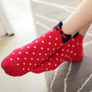 D.P-Shop - Ribbon-Print Dotted Socks