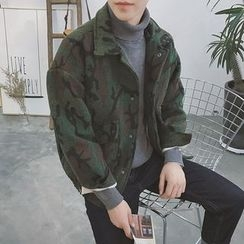 Soulcity - Camouflage Snap-Button Jacket