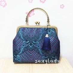 Bling Bag - Patterned Tasseled Clipframe Clutch