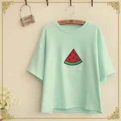 Fairyland - Short-Sleeve Fruit Embroidered T-Shirt