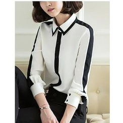 Dowisi - Long-Sleeve Contrast Trim Chiffon Blouse