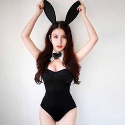 Merone - Bunny Girl Lingerie Costume Set: Hair Band + Bodysuit + Decorative Collar