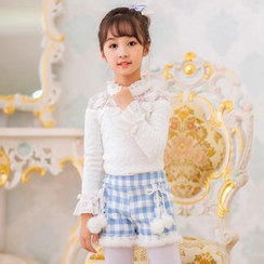 Candy Rain - Kids Pompom Furry Trim Gingham Shorts