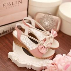Pastel Pairs - Color-Block Bow Wedge Sandals