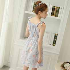 YUMU - Tie Strap Shirred Waist Chiffon Dress