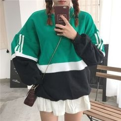 Eva Fashion - Colour Block Loose-fit Sweatshirt