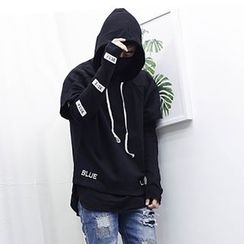 Evolu Fashion - Coupe Matching Set: Lettering Long-Sleeve T-Shirt + Hooded Short-Sleeve T-Shirt