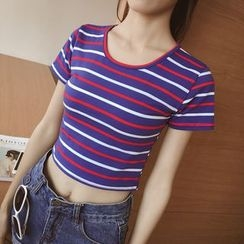 CHIH - Stripe Cropped Short-Sleeve Top