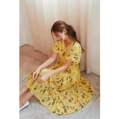 Cherryville - Short-Sleeve Floral Print A-Line Maxi Dress