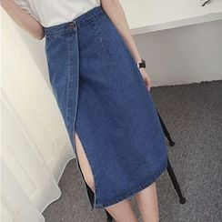 Honey House - A-Line Midi Denim Skirt