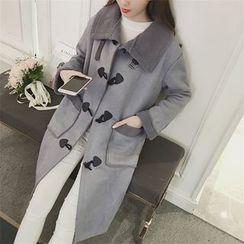 Eva Fashion - Faux Suede Toggle Coat