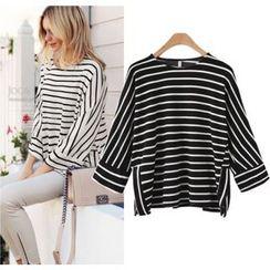 HOTCAKE - Striped 3/4-Sleeve T-Shirt