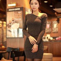 Clospace - Asymmetric Neck Long-Sleeve Bodycon Dress