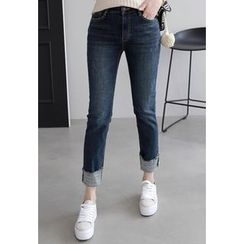 Miamasvin - Brushed-Fleece Lined Straight-Cut Jeans