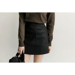 UPTOWNHOLIC - Pocket-Detail Wool Blend Skirt