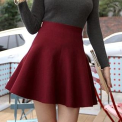 anzoveve - High Waist Knit Skater Skirt