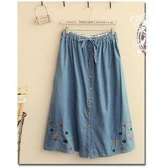 Fairyland - Embroidered Drawstring Waist Maxi Skirt