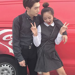 Glen Glam - Couple Check Shirt / Long-Sleeve Paneled Dress