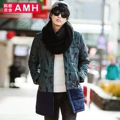 AMPO - Camouflage Print Snap Button Padded Coat
