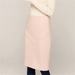 MAGJAY - Wool Blend Zip-Back Pencil Skirt