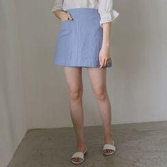 WITH IPUN - Linen A-Line Mini Skirt