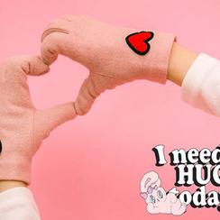 chuu - Touchscreen Heart-Appliqué Wool Blend Gloves