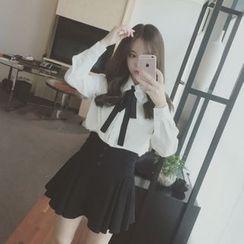 菲兒 - 套装: 丝带装饰长袖衬衫 + 打褶裙子
