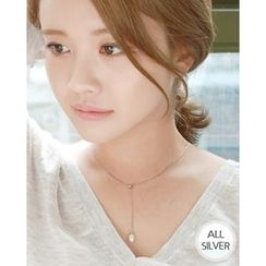 Miss21 Korea - Faux-Pearl Pendant Silver Lariat Necklace