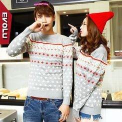 Evolu - Cross Print Couple Sweater