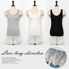 CLICK - Sleeveless Lace-Trim Tunic