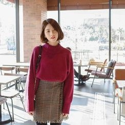 mimi&didi - Mock-Neck Dolman-Sleeve Wool Blend Sweater