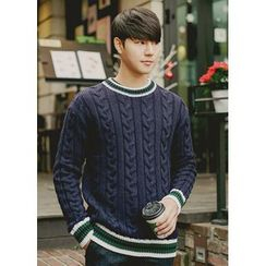 JOGUNSHOP - Crewneck Cable Sweater