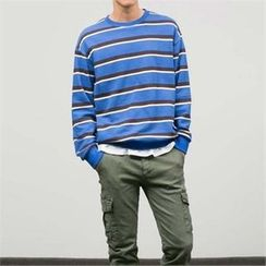 STYLEMAN - Colored Round-Neck Stripe T-Shirt