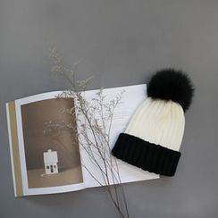 STYLEBYYAM - Faux Fur-Pompom Trim Color-Block Knit Beanie