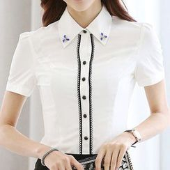 Eferu - Embellished Short-Sleeve Blouse