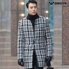 DANGOON - Single-Breasted Plaid Coat
