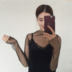 VeryBerry - Mesh Panel Long-Sleeve Top