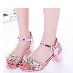 Freesia - Embellished Cuffed Block Heel Sandals