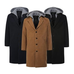Seoul Homme - Detachable Hoodie Single-Breasted Coat