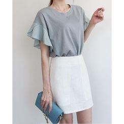 NIPONJJUYA - Ruffled Short-Sleeve Cotton Top