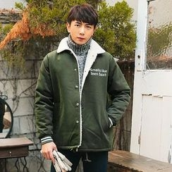 MEOSIDDA - Fleece-Lined Snap-Button Lettering Jacket