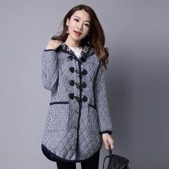 Splashmix - Hooded Buttoned Gingham Coat