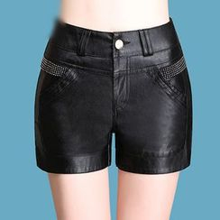 Manilu - Rhinestone Faux Leather Shorts