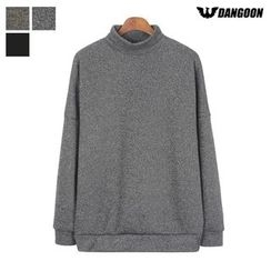 DANGOON - Mock-Neck Drop-Shoulder Brushed-Fleece Lined Pullover
