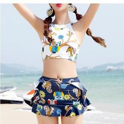 Jumei - Set: Owl Print Bikini + Cover-Up Skirt