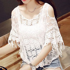 Fashion Street - Cutout Shoulder Fringed Lace Cover-up