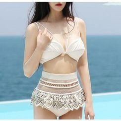 Jumei - Embroidered High Waist Bikini