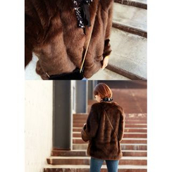 ssongbyssong - Round-Neck Faux-Fur Jacket