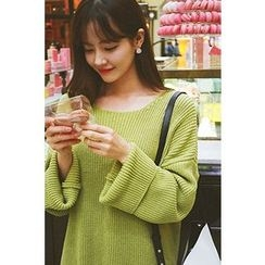 CHERRYKOKO - Drop-Shoulder Rib-Knit Sweater