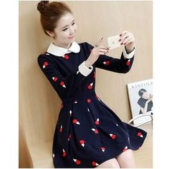 Yinaike - Long-Sleeve Print A-Line Dress